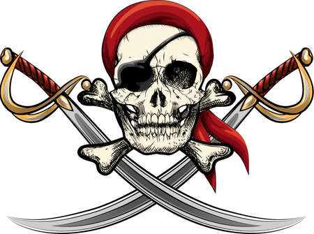Illustration with skull in kerchieft and against two sabres drawn in tattoo sketch style