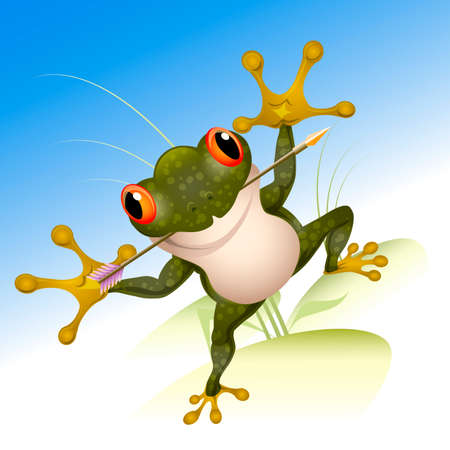 Funny illustration with frog with arrow in her mouth who waits for a beautiful prince drawn in cartoon style
