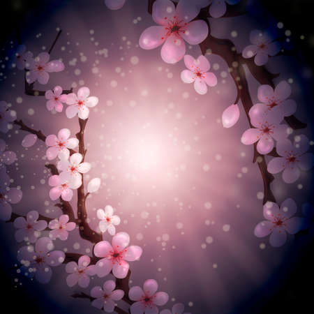 Abstract illustration with blossoming sakura on purple background drawn in retro style  illustration