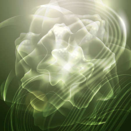 Abstract  background  with lights on floral green transparent object  Stock Photo
