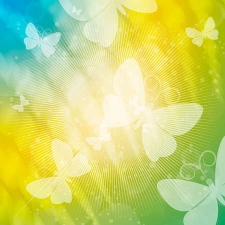 flit: Abstract illustration with flitting butterflies on festive background