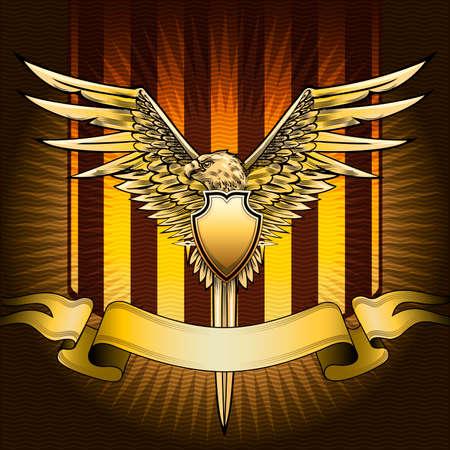 Het schild met adelaar, zwaard en banner tegen rode gestreepte achtergrond met golvend patroon getekend in klassieke stijl