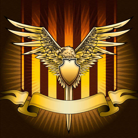 The shield with eagle, sword and banner against  red striped background with wavy pattern drawn in classic style