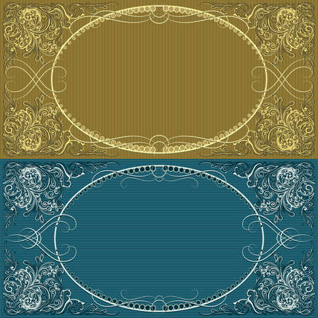 Two cards with frame for text drawn in vintage style  in different color variations Illustration