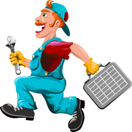 caretaker: Funny illustration with plumber running to help drawn in cartoon style
