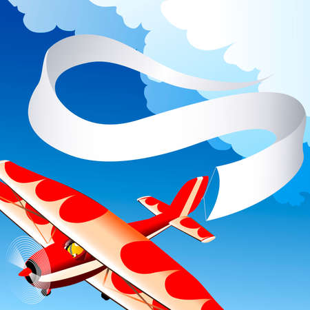 Illustration with flying plane with empty banner against blue sky