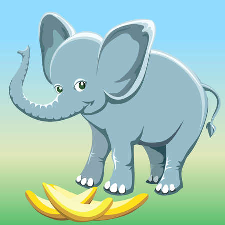 Funny illustration with smiling baby elephant and bananas drawn in cartoon style