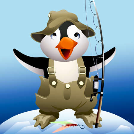 Funny illustration with little penguin who stays on a top of iceberg in fisherman uniform and brags of the huge catch
