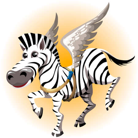 Funny illustration with joyful zebra tries on toy wings of pegasus drawn in cartoon style