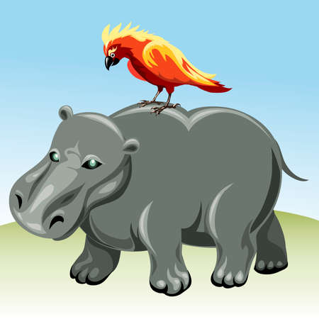 Funny illustration with walking hippopotamus and parrot on his back as allegory of family relationship drawn in cartoon style Vettoriali