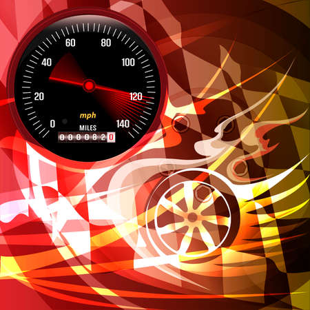 Illustration with speedometer and bouncing arrow against abstract background with wheels and flame tips drawn in vintage placard style