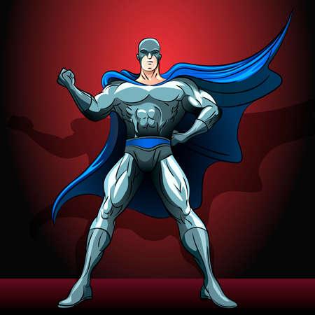 Illustratie met held die besloot om de wereld te redden en niets kan niet stoppen met hem getekend in comics stijl