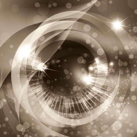Human eye against abstract sepia background with bubbles and stars