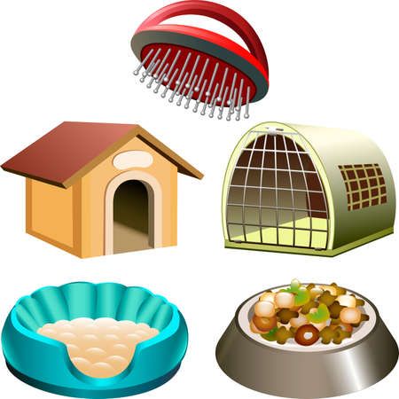 the accessory: Illustration with dog accessories set including kennel, box, bed, comb and bowl drawn in cartoon style