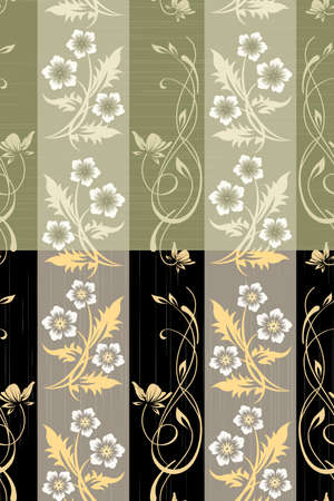 Scratched floral wall paper seamless pattern drawn in two different color variations.