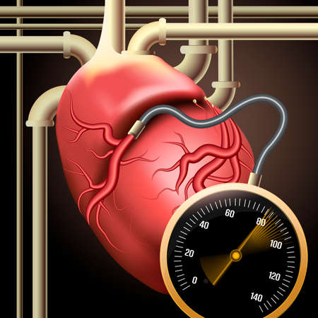surrealistic: Illustration with human heart connected to pipes and measuring device as metaphor of new biological technologies drawn in surrealistic style Illustration