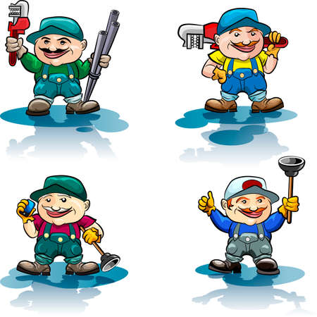 The plumber icon set with 4 plumbers in uniform holds various tools drawn in cartoon style Vector