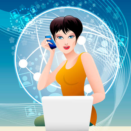 Illustration with pretty woman who talking by the mobile phone and surfing the net same time as allegory of modern lifestyle Vector
