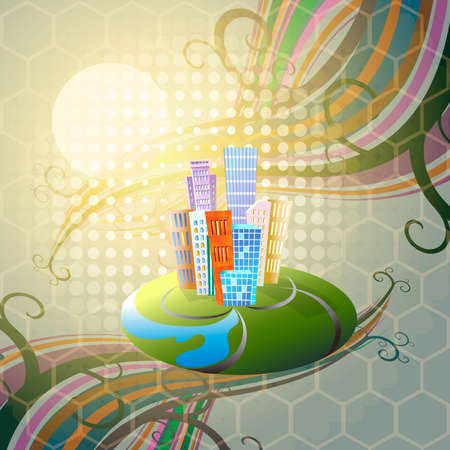 tendencies: Illustration with toy city and floral swirls as metaphor of environmental friendly tendencies in modern industry Illustration