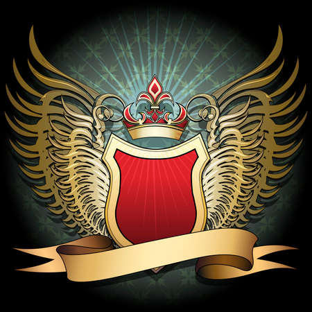 The winged shield with crown and ribbon against dark textured background with cross pattern drawn in classic style Illustration