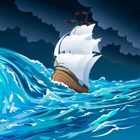 Illustratie met zeilschip drijven in stormachtige oceaan tegen bewolkte nachtelijke hemel getrokken in cartoon-stijl