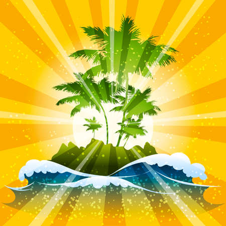 saturate: Illustration with tropical island and ocean waves against sunbeams background Illustration