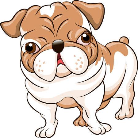 Grappige illustratie met bulldog puppy getrokken in cartoon stijl