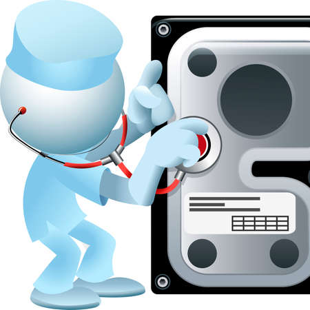 doctor who: Illustration with simplified man in doctor clothes who holds a stethoscope in his hand and hard disc as allegory of computer hardware recovery and diagnostics utilities