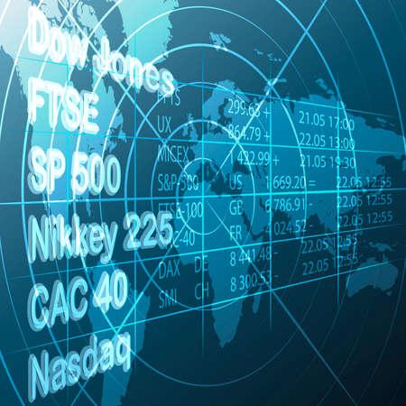 Illustratie met beurs lijst en data tegen wereldkaart aandeel als allegorie van de wereldeconomie Stock Illustratie