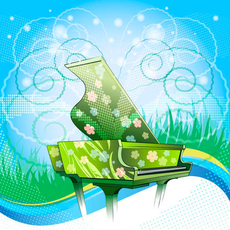 Illustration with grand piano covered by floral paintings against  festive nature background as metaphor of spring time drawn with using halftone pattern Vettoriali