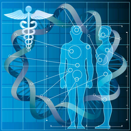 Illustration with double helix and human silhouettes as allegory of medical genetic code researches