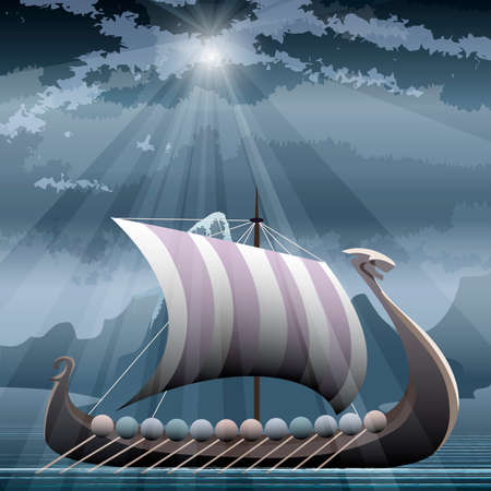 Illustration with viking ship in the fjord against northern montain seascape