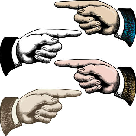 Set of vintage pointing fingers drawn in different color variations Illustration