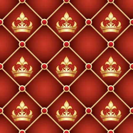 Seamless upholstery pattern with golden crowns drawn with using gradients