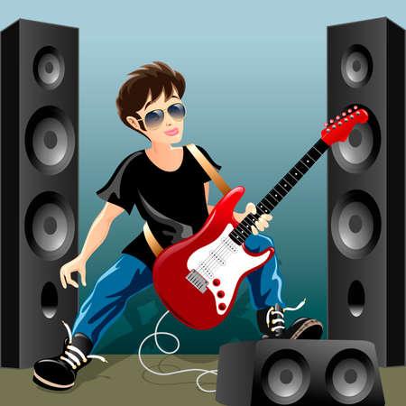 Illustrazione divertente con il giovane chitarrista roccia durante la ripetizione in un seminterrato disegnato in stile cartone animato