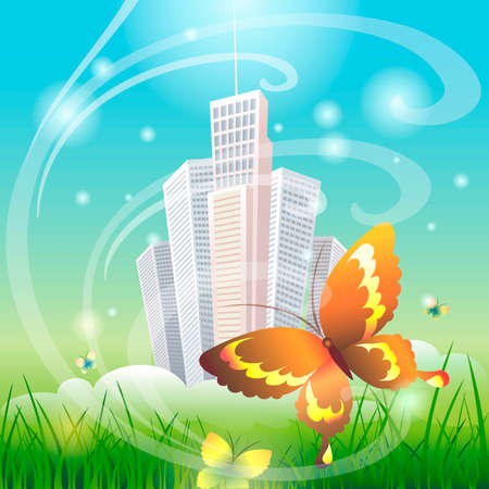saturated color: Illustration with  flying butterflies over morning meadow against city drawn in cartoon style
