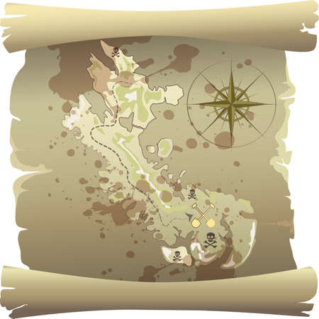 illustration with old pirate map of treasure island drawn in vintage cartoon style Vector