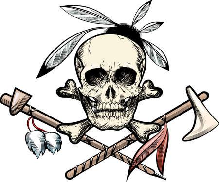 pijp roken: Illustratie met schedel met veren tegen tomahawk en roken pijp getrokken in tattoo schets stijl