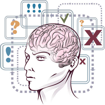 Illustration with human head against marked plates, paths  and arrows as allegory of thinking process drawn in retro style