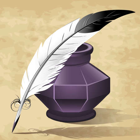 Illustration with quill pen and ink pot drawn in retro style Vector