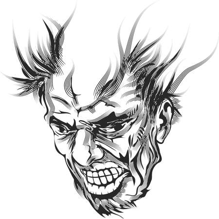 uncontrolled: Illustration with furious old man as metaphor of uncontrolled anger reaction drawn in retro ink sketch style