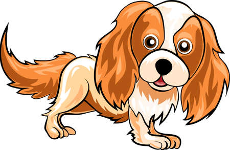 Funny illustration with spaniel drawn in cartoon style
