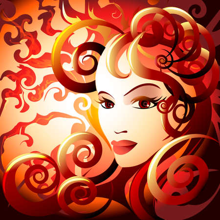saturate: Illustration with woman face in flame against burning skies as allegory of fire element drawn in fantasy style