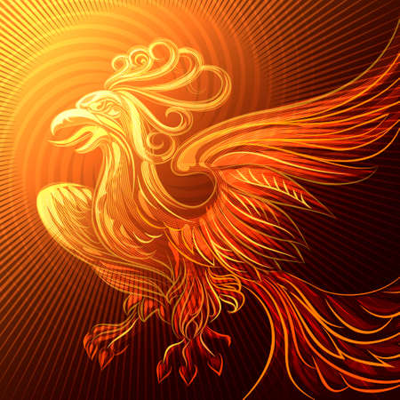 Illustration with phoenix drawn in fantasy style Vector