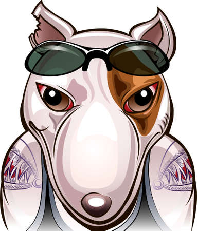 Funny illustration of angry bull terrier with tattoos as a street fighter drawn in cartoon style