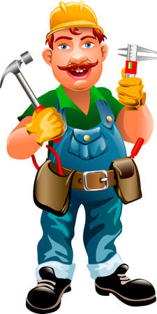 Illustration of smiling plumber drawn in cartoon style Vettoriali