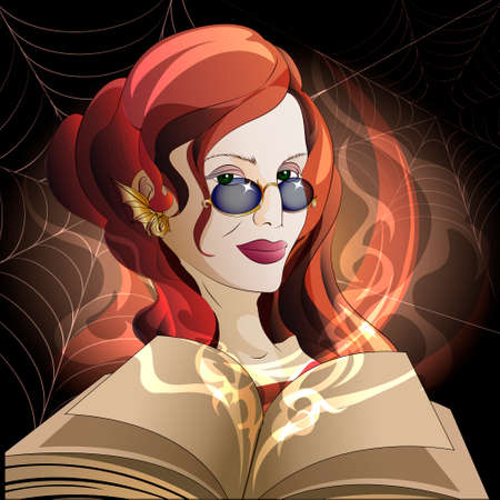 spells: Illustration of  the witch with open book of spells and inflaming magic fire against spider webs drawn in cartoon style