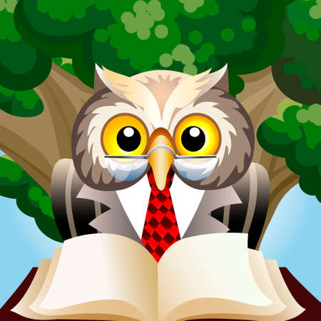 Illustration of wise eagle owl in teacher clothes sitting with book  against oak tree drawn in cartoon style