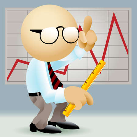 Illustration of simplified man in office clothes against a wall with chart with a ruler in his hand in a process of financial analysis drawn in retro style