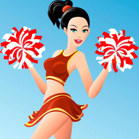 Illustration of  pretty girl in cheerleader uniform with pompons in her hands drawn in cartoon style Illustration